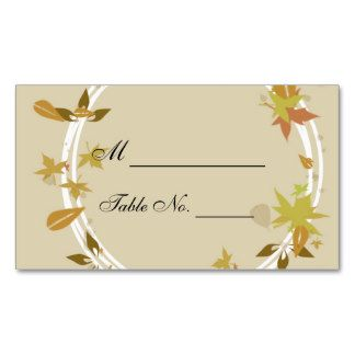 place cards for fall wedding | Fall Wreath Monogram Wedding Place Cards Business Cards