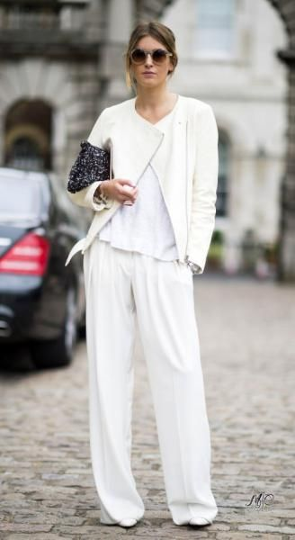 Total white look.