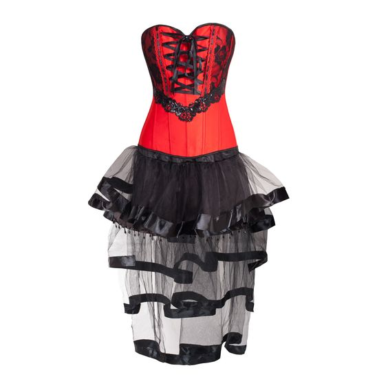 Romantic Scarlet and Black Corset with Lace, Ribbon and Sequins and a Layered…
