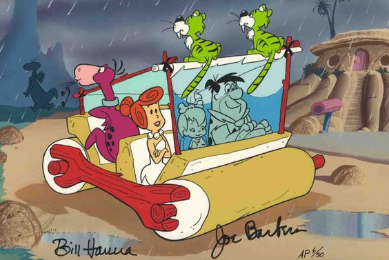 """""""Flintstones Windshield Wipers"""" is a classic scene with the entire Flintstones clan driving in their prehistoric automobile. The cartoon series was known for the clever way that they incorporated animals performing tasks/duties to make their lives easier such as the saber tooth cats using their tails as windshield wipers. This hand painted limited edition cel is signed by legendary animation pioneers Joe Barbera and William Hanna. #Flintstones"""