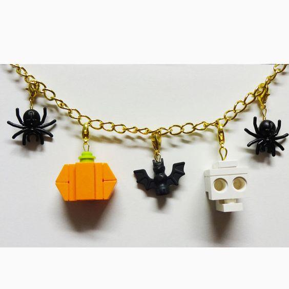Custom LEGO Halloween Charm Bracelet by FoldedFancy on Etsy, $35.00