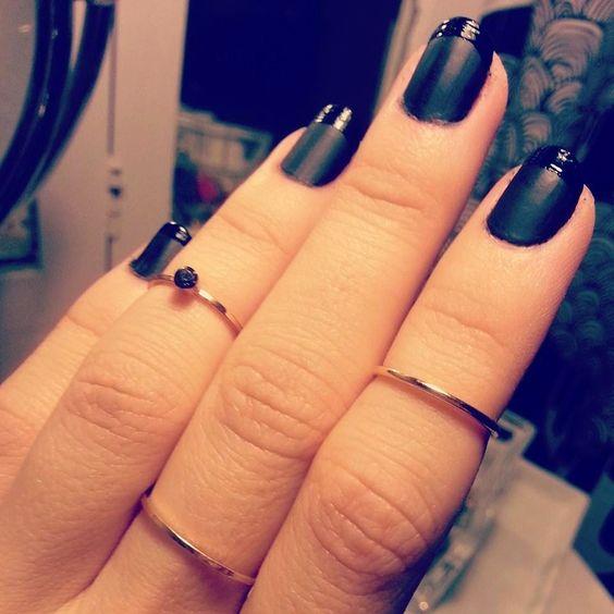 Black Gloss on Matte French Manicure