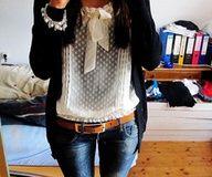 I really like the sheer, polka dot shirt.