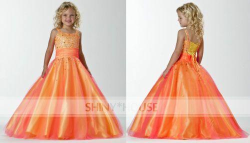 2014-Neu-Glaentzend-Rosa-Tuell-Perlen-farbig-Prinzessin-Festkleider-Brautmaedchen