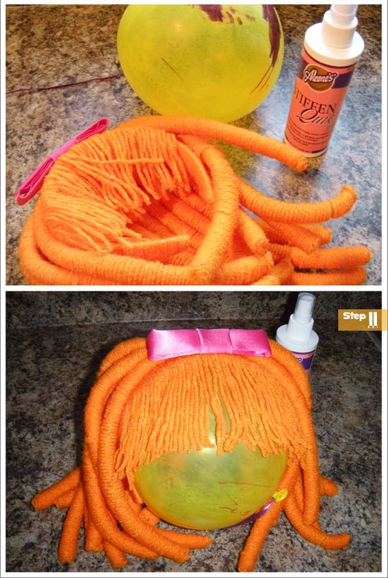 Make your own Lalaloopsy wig.  This may come in handy for future play projects or Halloween.  Hopefully I'm successful in talking Elaine into being Annie next year and I won't need the wig.