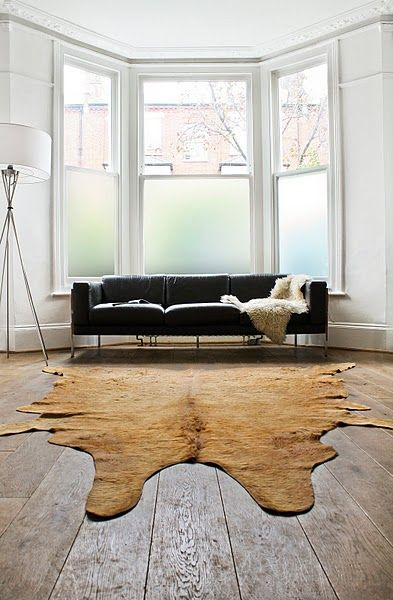 cowhide: Window Film, Cow Hide Rug, Leather Sofa, Livingroom, Bay Windows, Living Room, Cowhide Rugs