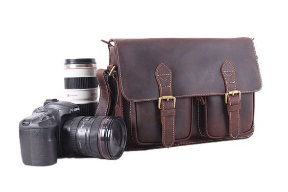 Handmade Genuine Leather DSLR Camera Bag by MooshiLeatherDesign
