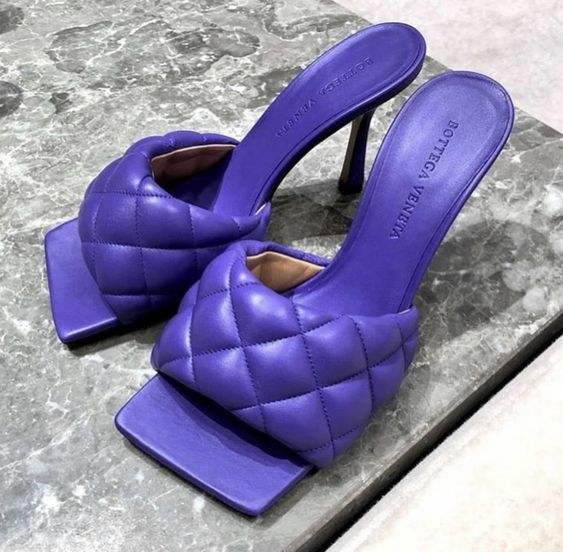 Bottega Veneta purple padded sandals