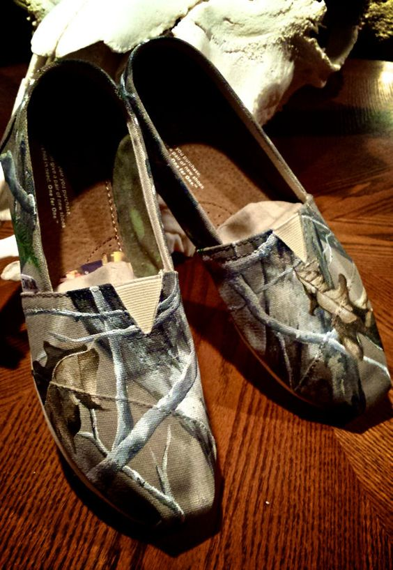 Made to Order Custom Painted TOMS Realtree Camo Shoes