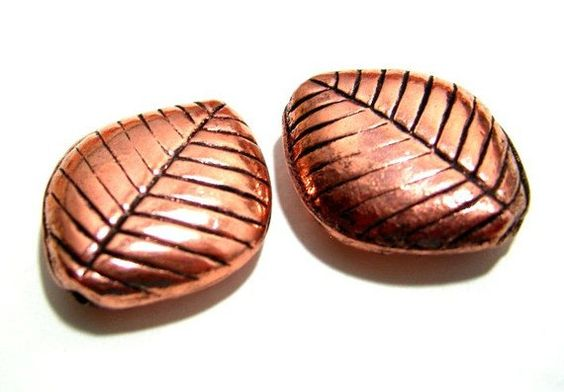 Copper Leaf Beads Pack of 4 by VirginiaCharm on Etsy, $3.20