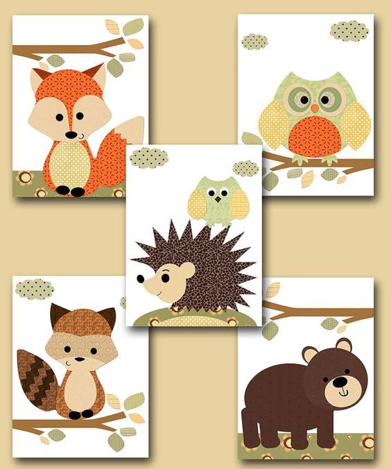 Ensemble Fox pépinière Owl Nursery bébé garçon par artbynataera
