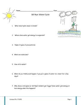 Bill Nye Water Cycle Video Worksheet | Water Cycle, Bill Nye and ...