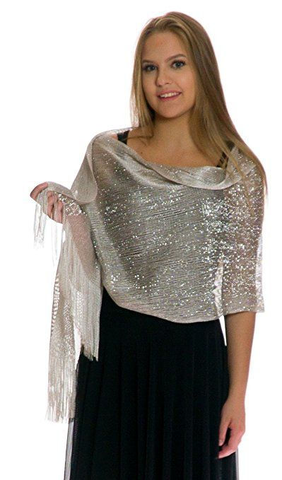 1920s Style Shawls, Wraps, Scarves Petal Rose Shawls and Wraps for Evening Dresses - Sheer Bridal Womens Scarves for Prom Wedding Party Bridal - Scarfs for Women with Fringe $14.99 AT vintagedancer.com