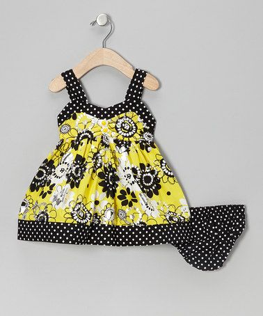Take a look at this Yellow Floral Shimmer Dress - Infant, Toddler & Girls by Young Hearts on #zulily today!