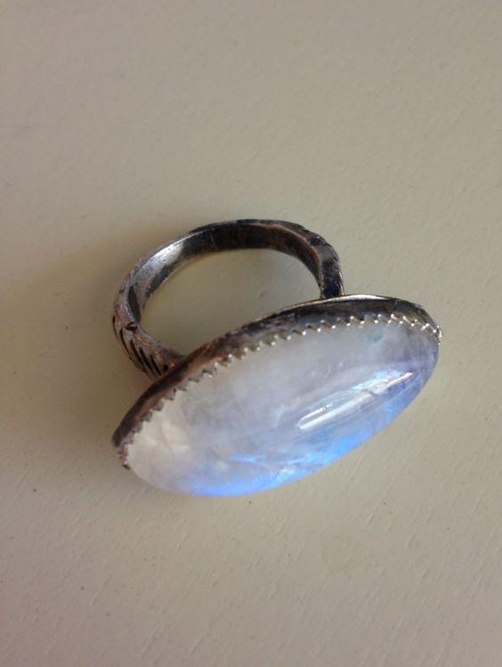 Chevron Moonstone Ring by RefinedRock on Etsy, $147.00