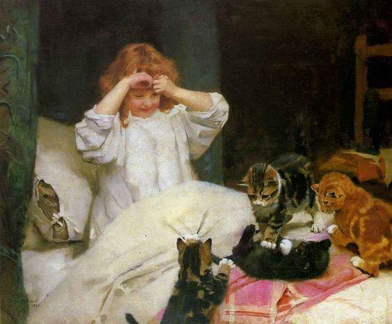 Arthur John Elsley(1860-1952) — Play Time   (903×746):