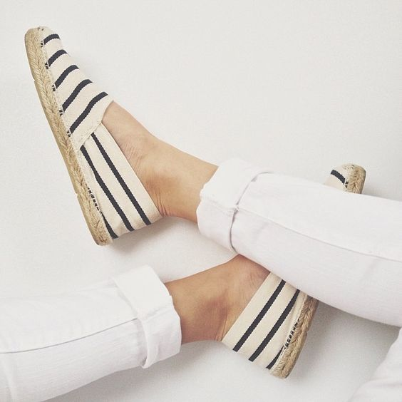 White jeans  striped espadrilles a staple in the W3LL PEOPLE closet, goes with everything and perfect for the gal on the go. #summershoe #flats #style: