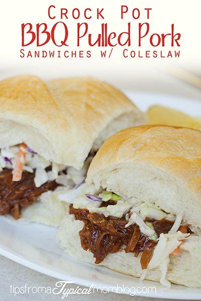 Crock Pot BBQ Pulled Pork Sandwiches with Coleslaw | Pork ...