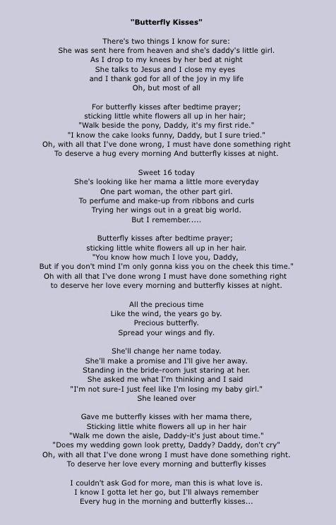 Butterfly Kisses Lyrics by Bob Carlisle