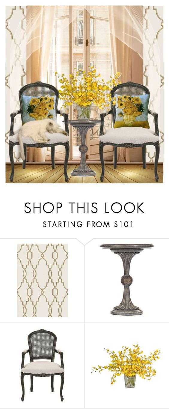 """""""Fleurs #2"""" by scarletj17 ❤ liked on Polyvore featuring interior, interiors, interior design, home, home decor, interior decorating, Cole & Son, Safavieh, The French Bee and Pillow Decor"""
