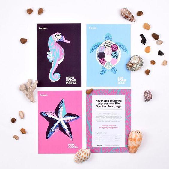 Postcard #designs by #shillobri graduate Kasey Dunshea. . #StudentWork #Illustration #SeaLife