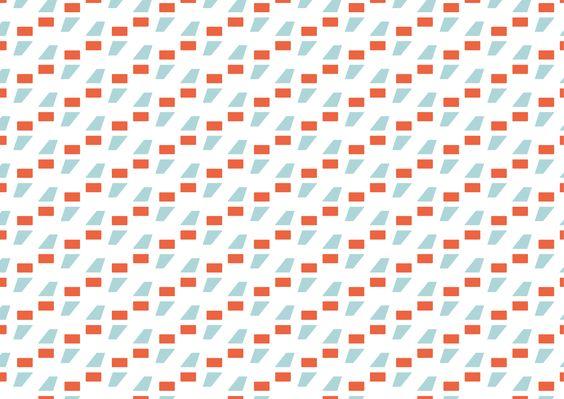 Blackoak, Jay Redick, 1990. Pattern 3 B/N. Geometrico. Ho utilizzato il punto e virgola (semi-colon) per la nettezza, regolarità e semplicità dei tratti. Ho utilizzato un arancio mattone e un azzurro tenue per dare contrasto alla composizione