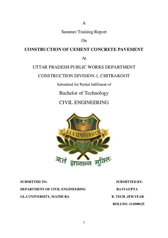 A Summer Training Report On CONSTRUCTION OF CEMENT CONCRETE - training report