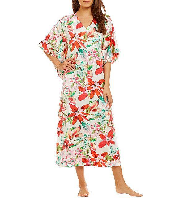 New Natori $180 Lucent Palms Long Caftan Gown Robe Lounger Duchess ...