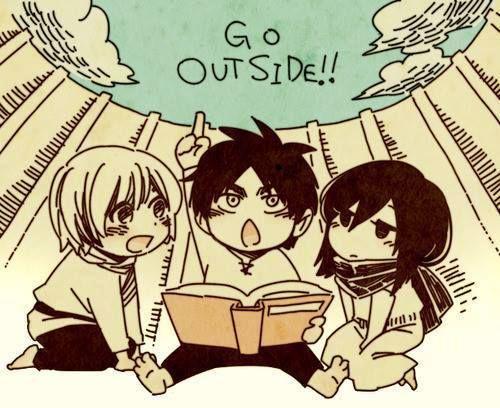 Attack on Titan - Little Armin, little Eren, and little Mikasa : Go Outside !