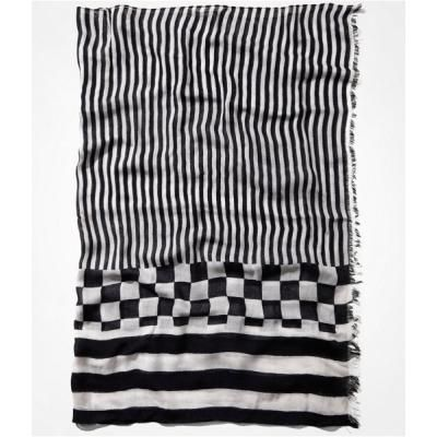 $34, Black and White Plaid Scarf: Express Stripes And Checks Oblong Scarf Black. Sold by Express. Click for more info: https://lookastic.com/women/shop_items/77590/redirect