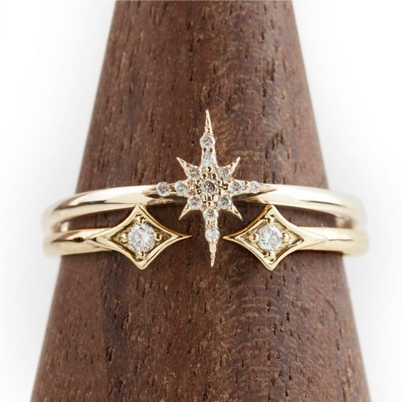 Einzigartige Engagement ring Set, 14 k solid gold-Diamantring, Setzring, Cluster Diamantring, Sternenexplosion Ring, stieg gold Verlobungsring