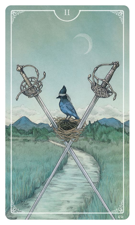 The 2 of Swords may be foretelling of unsettling communications. The message of the Two of Swords appearing in a readings is that the key to achieving a satisfactory compromise is by open and honest communication. Do not allow prior grievances and bitterness to influence the communication. Once a compromise has been reached, you should feel a sense of achievement at having been open-minded and considerate of others.{Ostara Tarot}
