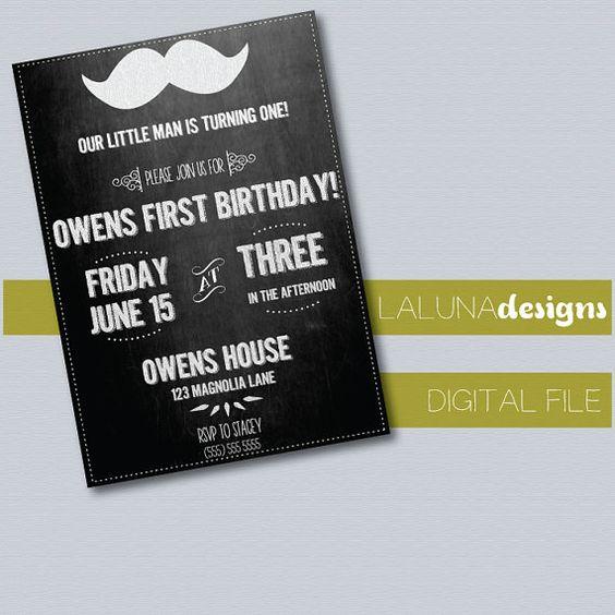 Mustache/Chalkboard Birthday Invite- Printable