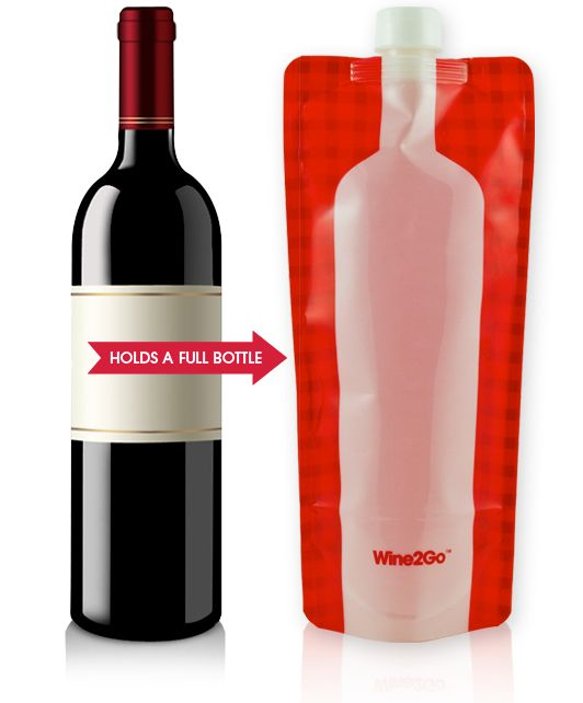 Fit a whole bottle of wine is this portable plastic case!