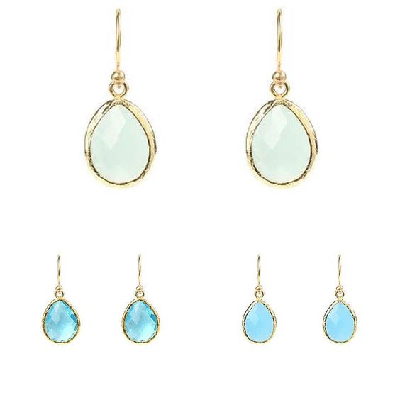 Which blue speaks to you the most?  aqua chalcedony crystal blue topaz blue chalcedony crystal sterling silver & gold plated earrings now in! #earrings #crystals #gems #gemstone #gemstones #jewellery #handcrafted #britishmade #latelita #shoploren #feminine #giftforher #gift #lady #style #fashion #accessory #celebrity #love #beautiful #silver