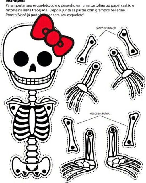 Esqueleto Danzante Para Recortar Dia Muertos Esqueleto Para Armar Cosas De Halloween Actividades De Halloween