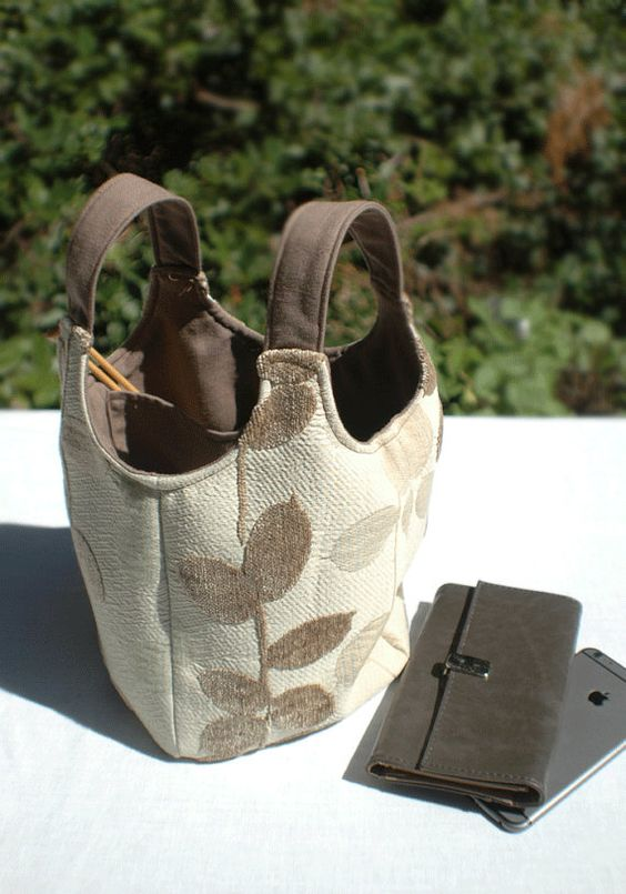 Ms Money Penny Shibui Leaves Knitting Project Tote or by The Thrifty Needle