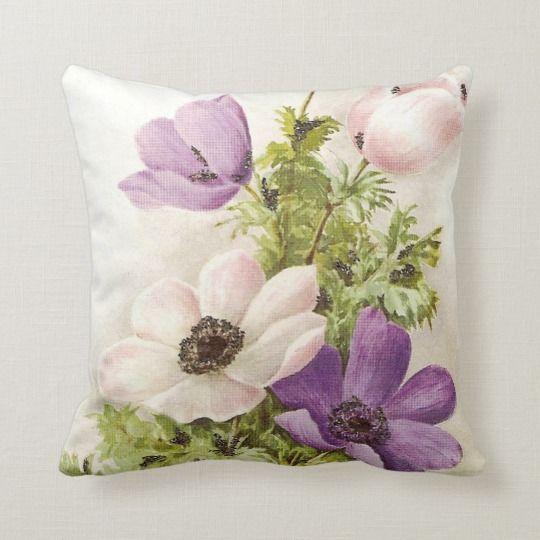 Vintage Anemone Throw Pillow Zazzle Com Floral Pillows Throw Pillows Pillows Floral