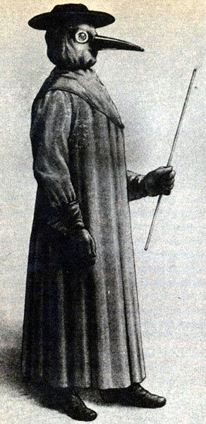 A plague doctor  was a special medical physician who saw those who had the bubonic plague. In the seventeenth and eighteenth centuries, some doctors wore a beak-like mask which was filled with aromatic items. The masks were designed to protect them from putrid air, which (according to the miasmatic theory of disease) was seen as the cause of infection. The protective suit consisted of a heavy fabric overcoat that was waxed. A wooden cane pointer was used to help examine the patient without…