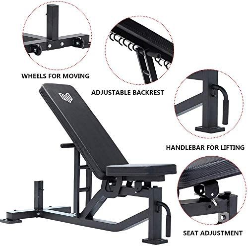 Best Seller Mevem Adjustable Exercise Weight Bench Utility Home Use Incline Decline Flat Workout Bench Full Body Strength Training 1 000 Lb Rated Online F Weight Benches Weights Workout Bench Workout