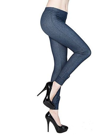 Take a look at this Denim Blue Ankle Detail Jeggings - Women by r.bryant on #zulily today!