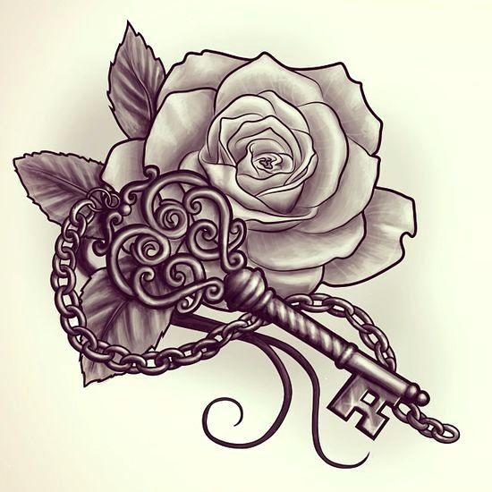 Love Key And Rose Tattoo Design Free Training Video Will Tattoo