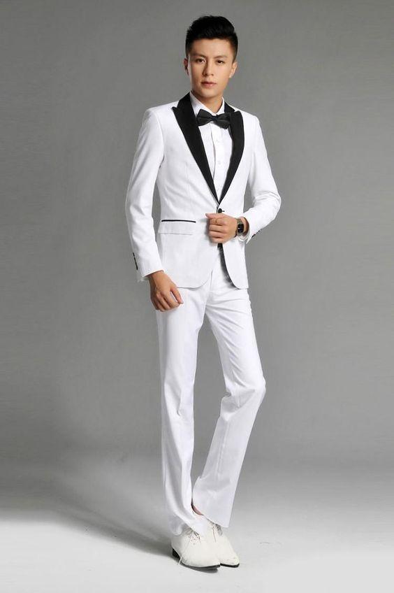 2014 custom made peak lapel white suits black lapel one button ...