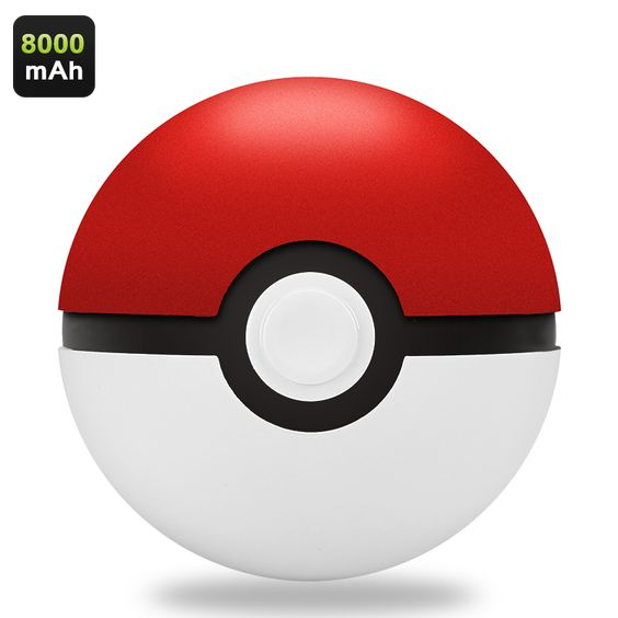 Pokemon Power Bank - Authentic Poke Ball Design 8000mAh Battery Charges Two Devices At Once LED Power Indicator
