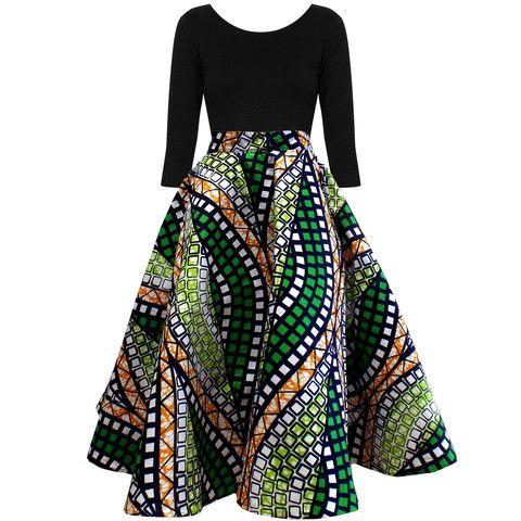 Ivie African Print Midi Circle Skirt Green White – D