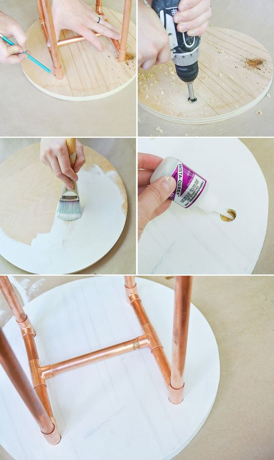This DIY copper pipe side table is the boost your tiny space has been waiting for.