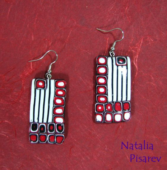 Polymer Clay  WhiteRedBlack Earrings Ethnic Pattern by NataPi, $12.00