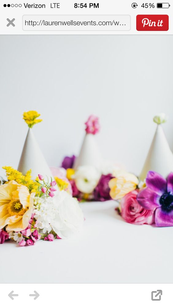 Floral birthday hats