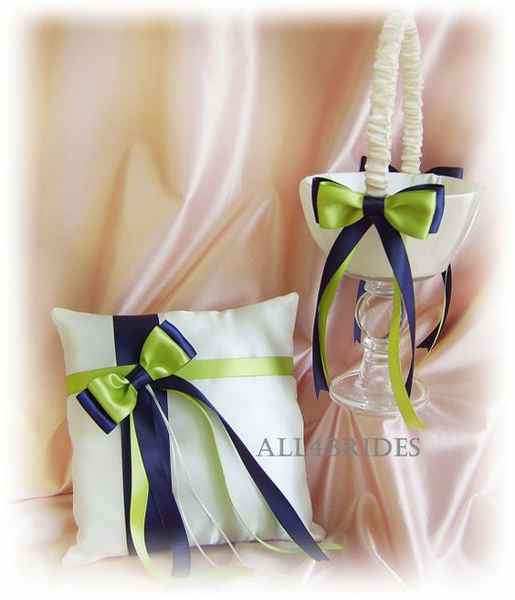 Navy Blue and Lime Green Wedding -Flower Girl Basket and Ring Bearer Pillow #wedding