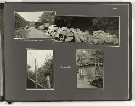 Anonymous | Fort Bocklemünd, Anonymous, 1940 | Albumblad met twee foto's en een collage bestaande uit drie foto's van Fort Bocklemünd (Keulen) in 1940. De collage geeft een beeld van een grote schoonmaak in het fort, de andere twee van een zendinstallatie (Funkstelle). Onderdeel van een Duits militair album Tweede Wereldoorlog 1939-1940.